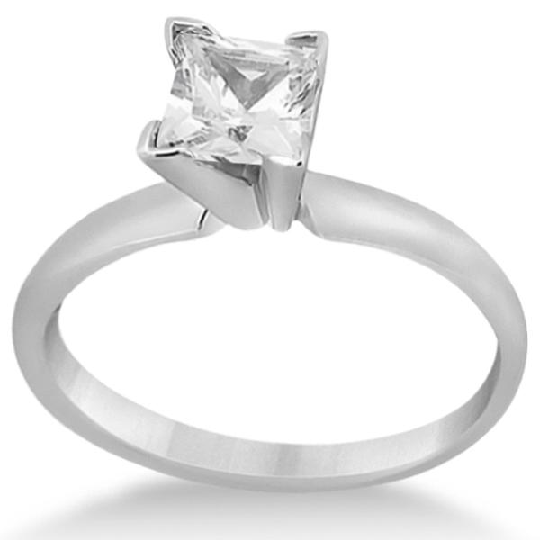 Palladium Solitaire Engagement Ring Princess Cut Diamond Setting