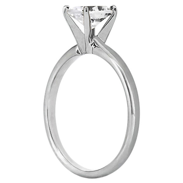 Four-Prong 18k White Gold Solitaire Engagement Ring Setting
