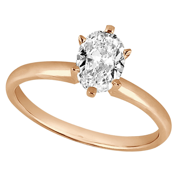 Six-Prong 14k Rose Gold Engagement Ring Solitaire Setting