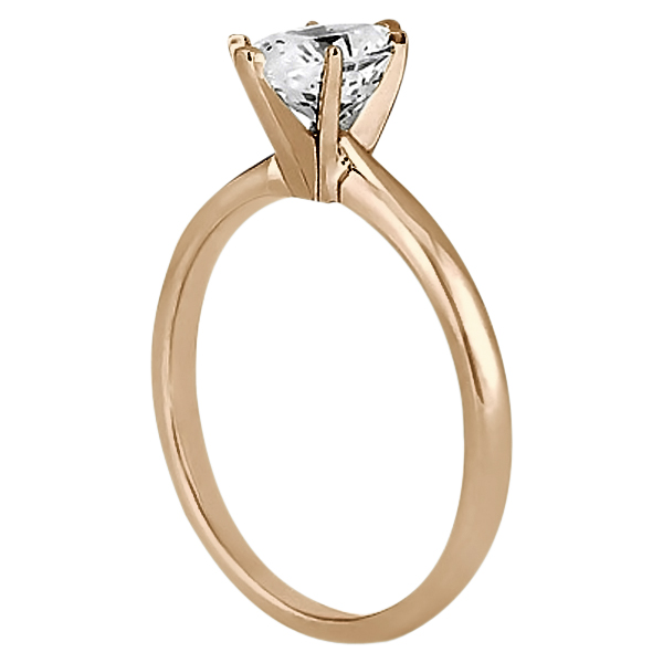 Six-Prong 18k Rose Gold Engagement Ring Solitaire Setting