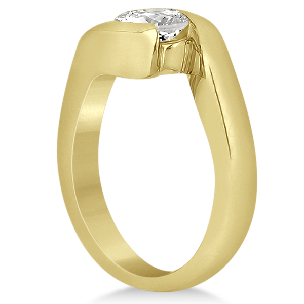 Twisted Bypass Solitaire Tension Set Engagement Ring 14k Yellow Gold