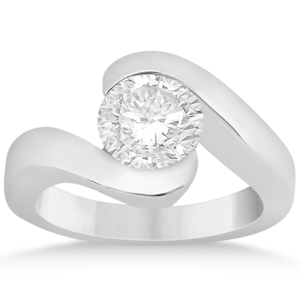 Twisted Bypass Solitaire Tension Set Engagement Ring