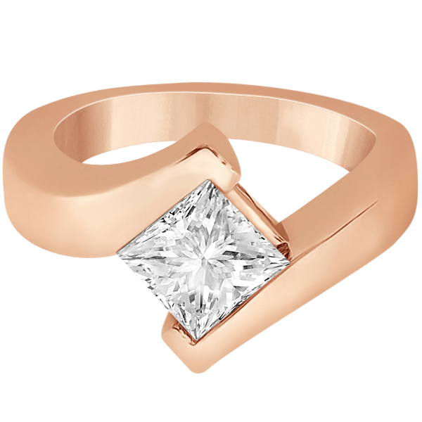 Princess Cut Tension Set Engagement Ring Setting 18k Rose Gold