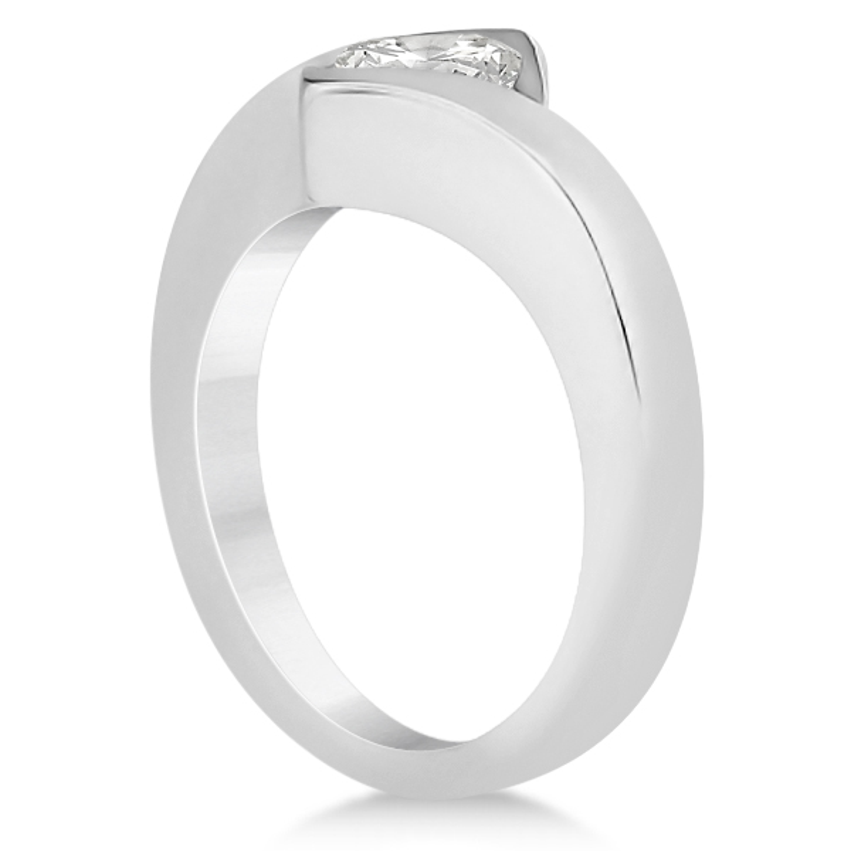 Princess Cut Tension Set Engagement Ring Setting 18k White Gold