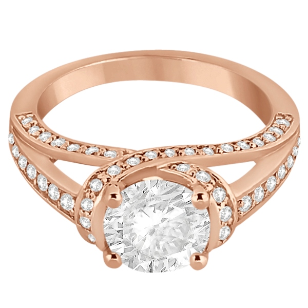 Fancy Twist Pave Round Diamond Engagement Ring 14K Rose Gold (0.66ct)