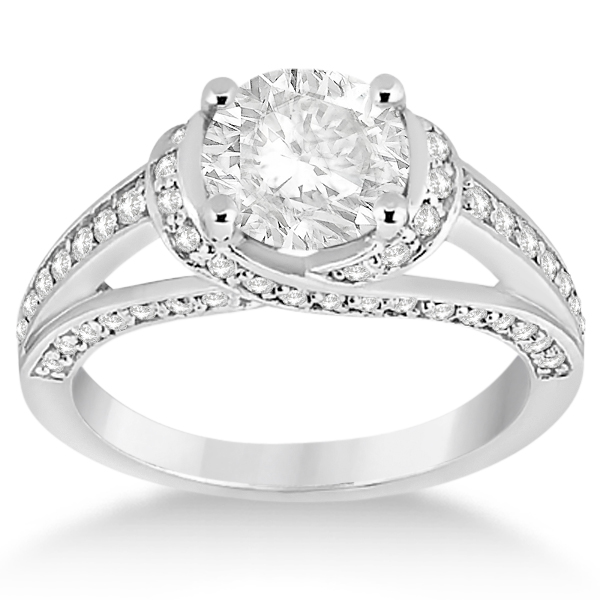 Fancy Twist Pave Round Diamond Engagement Ring Platinum (0.66ct)