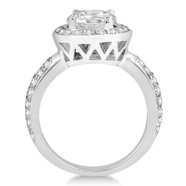 Halo Style Diamond Engagement Ring Setting 14k White Gold (0.50ct)