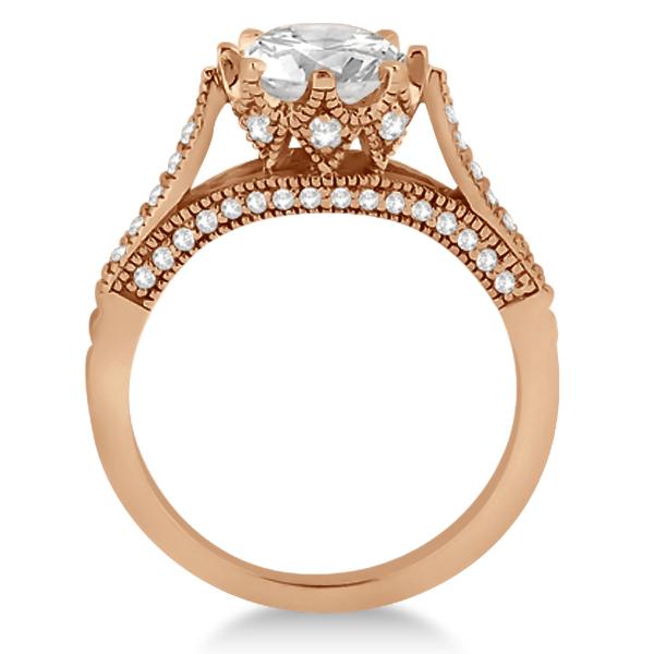 Edwardian Diamond Engagement Ring Setting 14K Rose Gold (0.35ct)