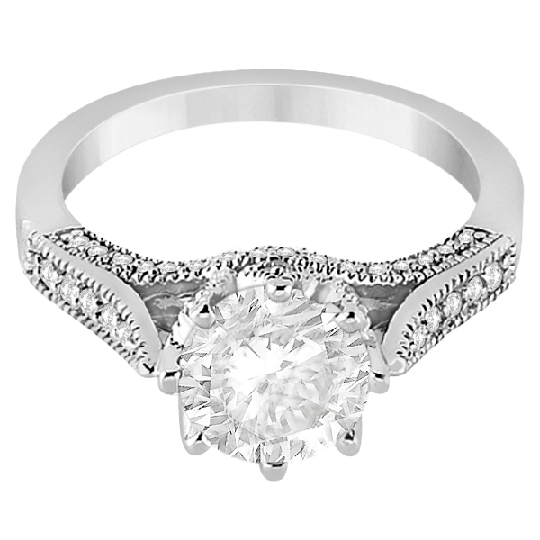 Edwardian Diamond Engagement Ring Setting 14K White Gold (0.35ct)