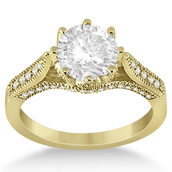 Edwardian Diamond Engagement Ring Setting 14K Yellow Gold (0.35ct)