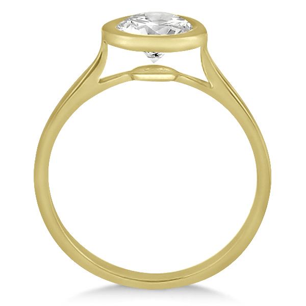 Floating Bezel Set Solitaire Engagement Ring Setting 14K Yellow Gold