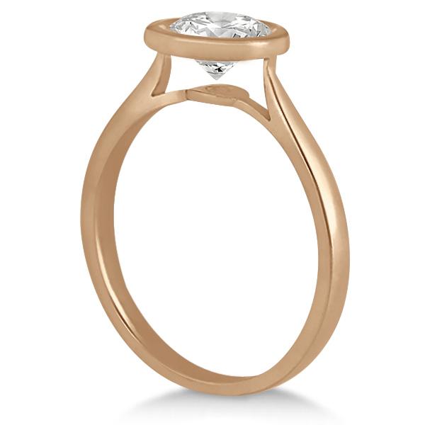 Floating Bezel Set Solitaire Engagement Ring Setting 18K Rose Gold