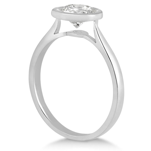 Floating Bezel Set Solitaire Engagement Ring Setting in Palladium