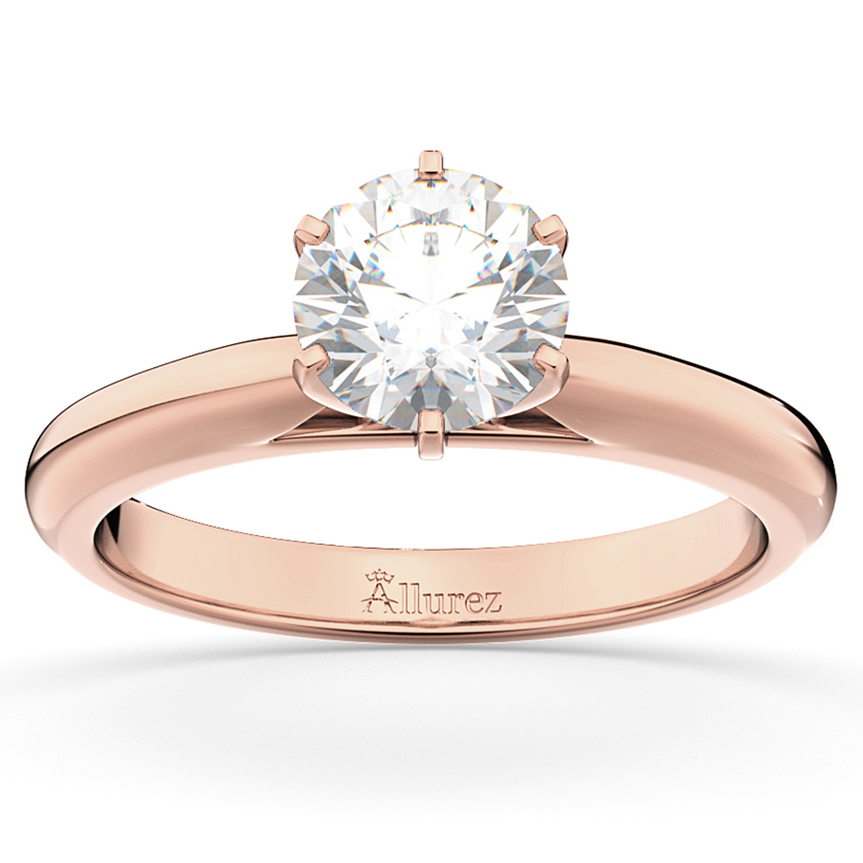 Six-Prong 18k Rose Gold Solitaire Engagement Ring Setting