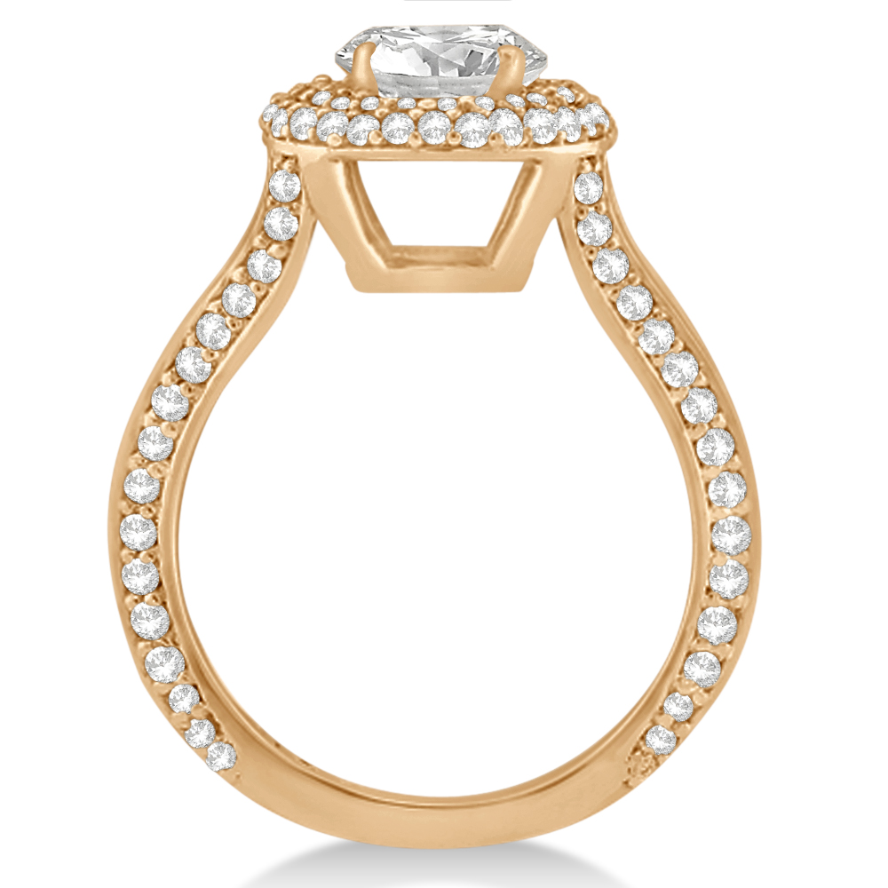 Double Halo Diamond Engagement Ring Setting 14k Rose Gold (1.00ct)