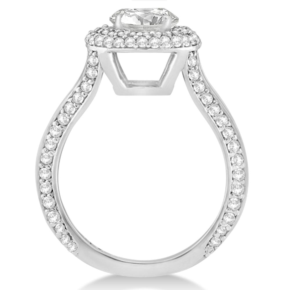 Double Halo Round Diamond Engagement Ring 14k White Gold (2.00ct)