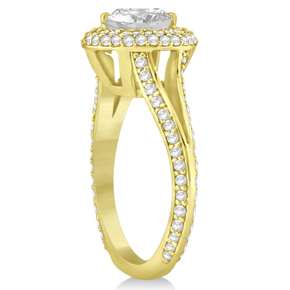 Double Halo Diamond Engagement Ring Setting 14k Yellow Gold (1.00ct)