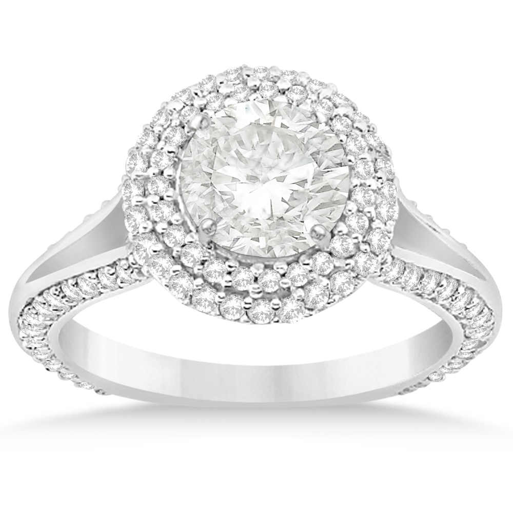 Double Halo Diamond Engagement Ring Setting 18k White Gold (1.00ct)
