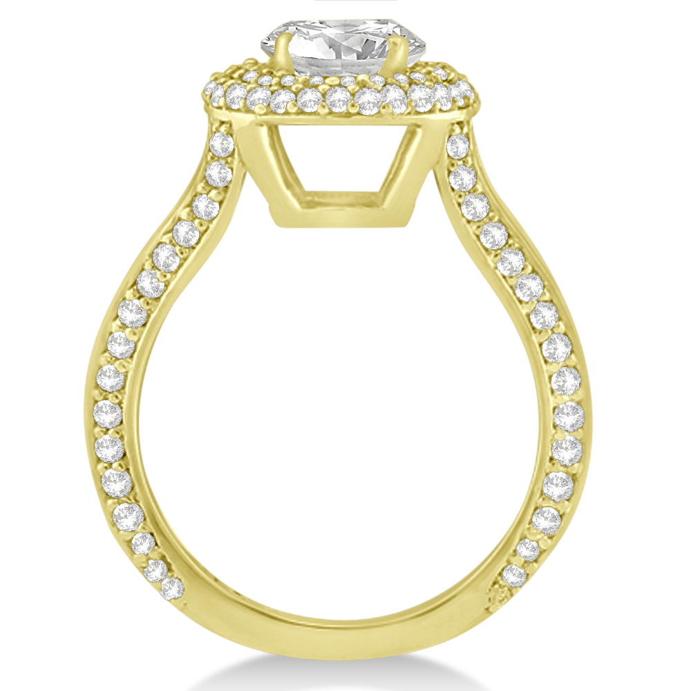 Double Halo Diamond Engagement Ring Setting 18k Yellow Gold (1.00ct)