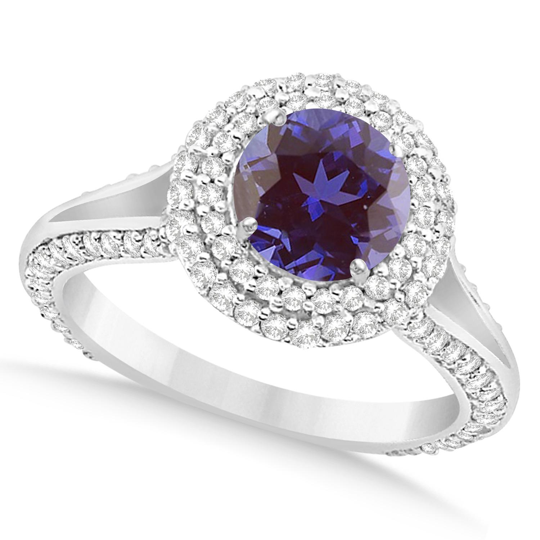 halo alexandrite engagement ring 14k white gold