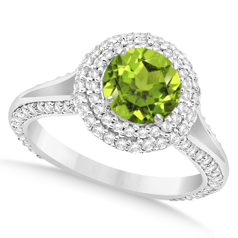 Halo Peridot & Diamond Engagement Ring 14k White Gold (2