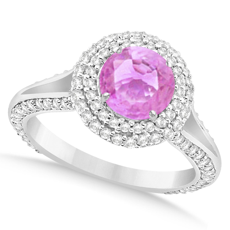 Halo Pink Sapphire & Diamond Engagement Ring 14k White Gold 2.41ct