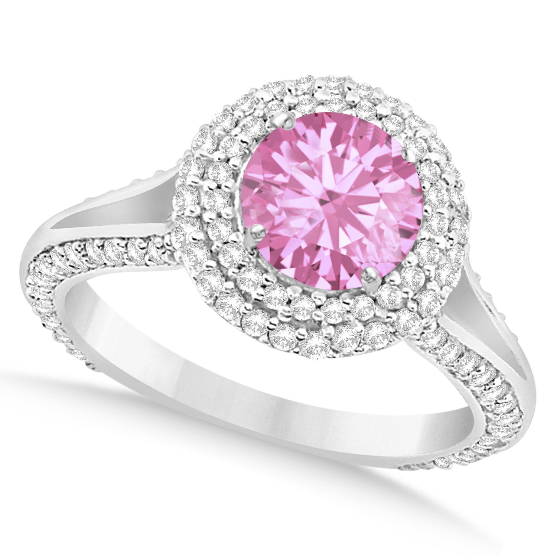 Halo Pink Tourmaline & Diamond Engagement Ring 14k White Gold 2.28ct