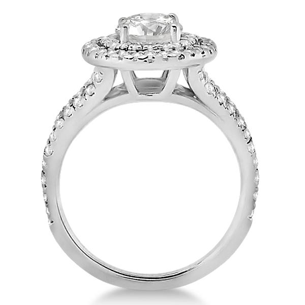 Double Halo Split Shank Diamond Engagement Ring 14k  White Gold 0.77ct