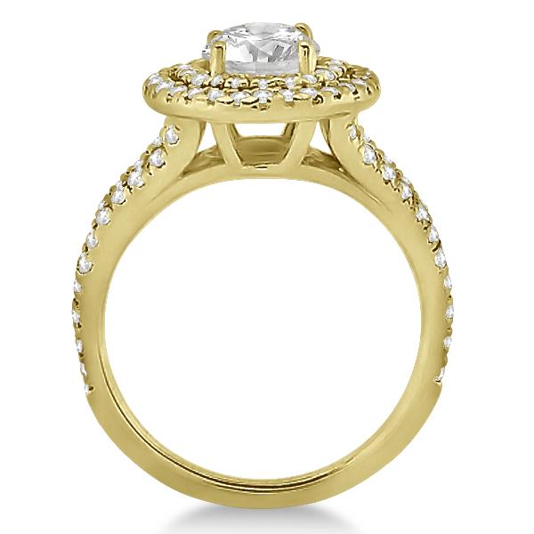 Double Halo Split Shank Diamond Engagement Ring 14k Yellow Gold 0.77ct