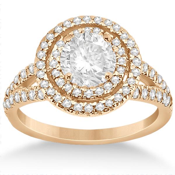 Double Halo Split Shank Diamond Engagement Ring 18K Rose Gold 0.77ct