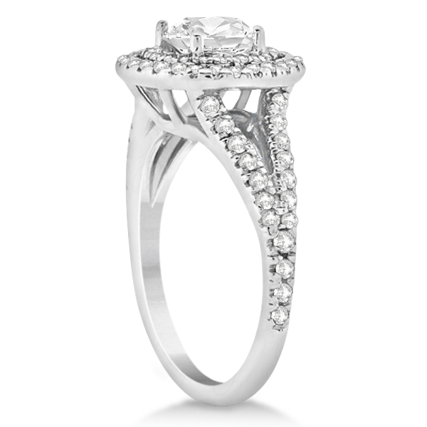 Double Halo Split Shank Diamond Engagement Ring 18K White Gold 0.77ct