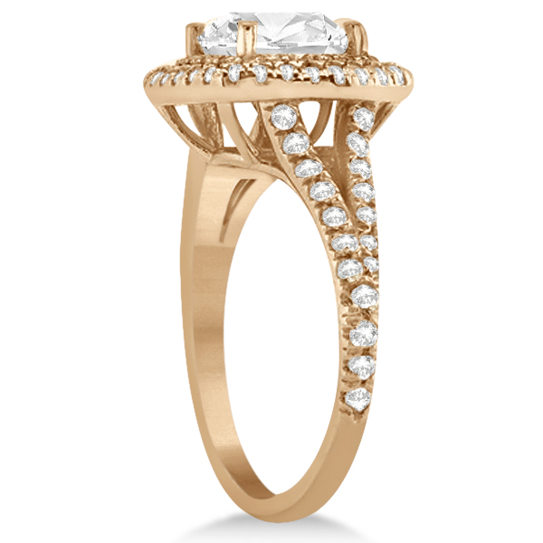Double Halo Diamond Engagement Ring Setting 14K Rose Gold  (0.77ctw)