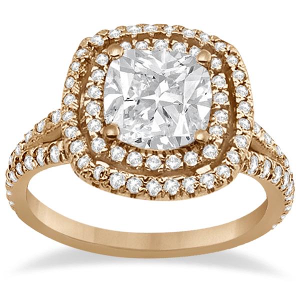 Double Halo Diamond Engagement Ring Setting 18K Rose Gold 0 77ct