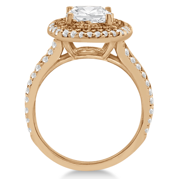 Double Halo Diamond Engagement Ring Setting 18K Rose Gold 0 77ct