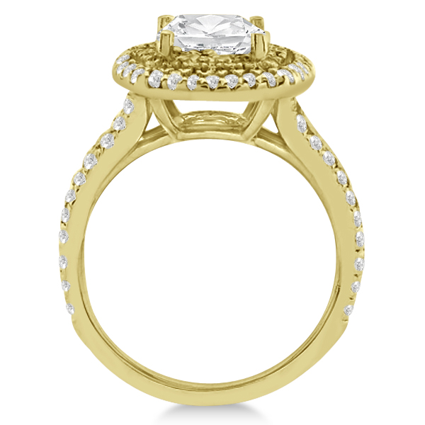 Double Halo Diamond Engagement Ring Setting 18K Yellow Gold 0 77ct