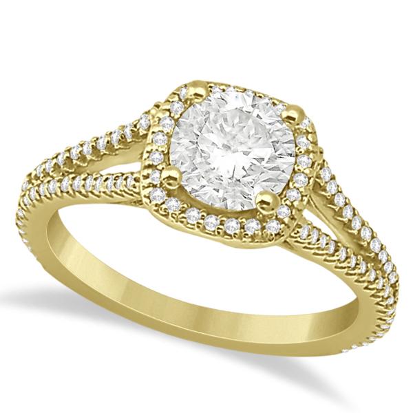 Square Halo Diamond Engagement Ring Split Shank 14K Yellow Gold 1.25ct