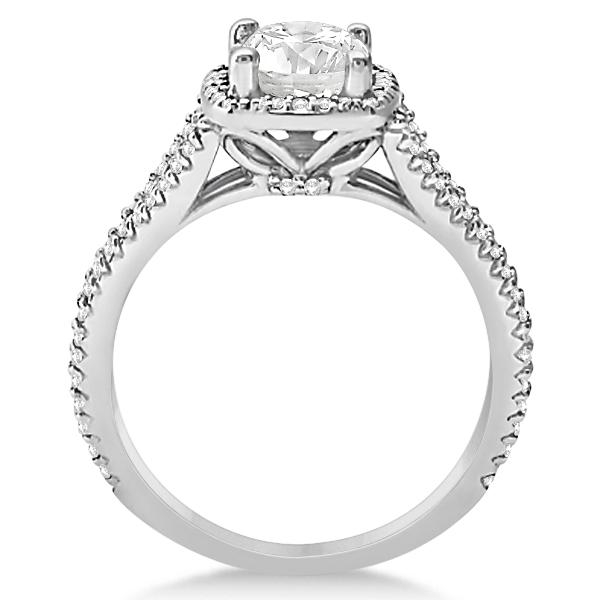 Halo Moissanite & Diamond Engagement Ring Split Shank 14K W Gold 1.25ct
