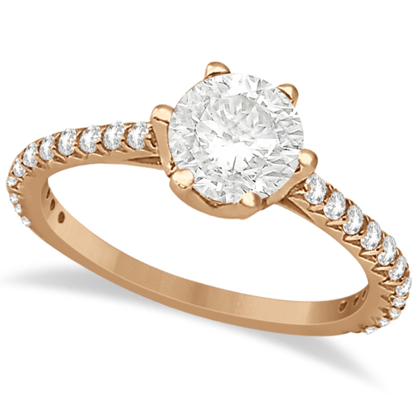 Side Stone Six Prong Diamond Engagement Ring 14k Rose Gold 1.33ctw