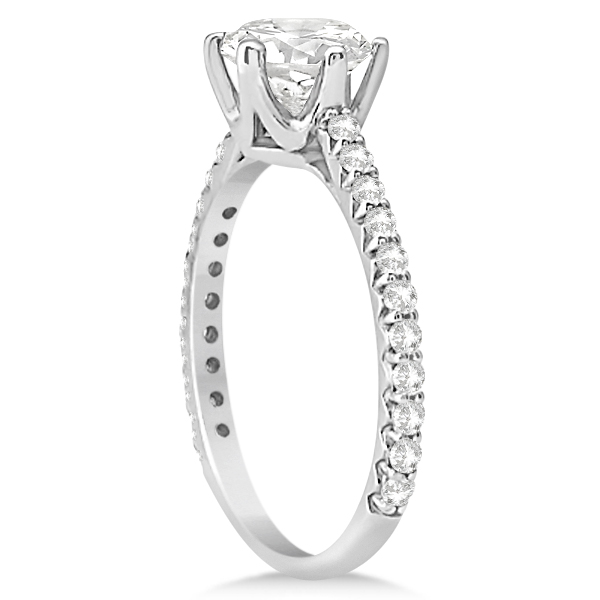 Side Stone Six Prong Diamond Engagement Ring 14k White Gold 1.33ctw