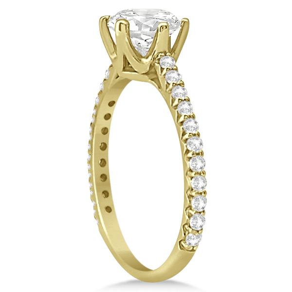 Side Stone Six Prong Diamond Engagement Ring 14k Yellow Gold 1.33ctw