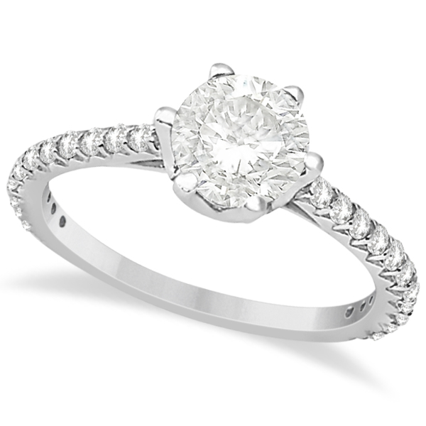 Side Stone Six Prong Diamond Engagement Ring 18k White Gold 1.33ctw