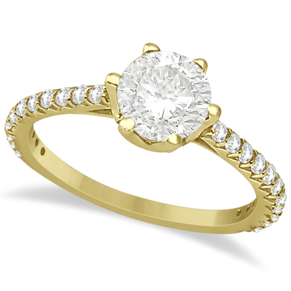 Side Stone Six Prong Diamond Engagement Ring 18k Yellow Gold 1.33ctw