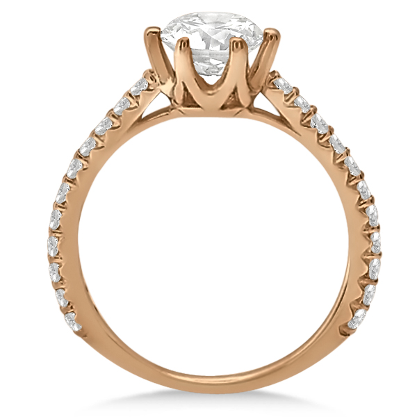 Diamond Accented Moissanite Engagement Ring in in 18K Rose Gold 1.33ctw