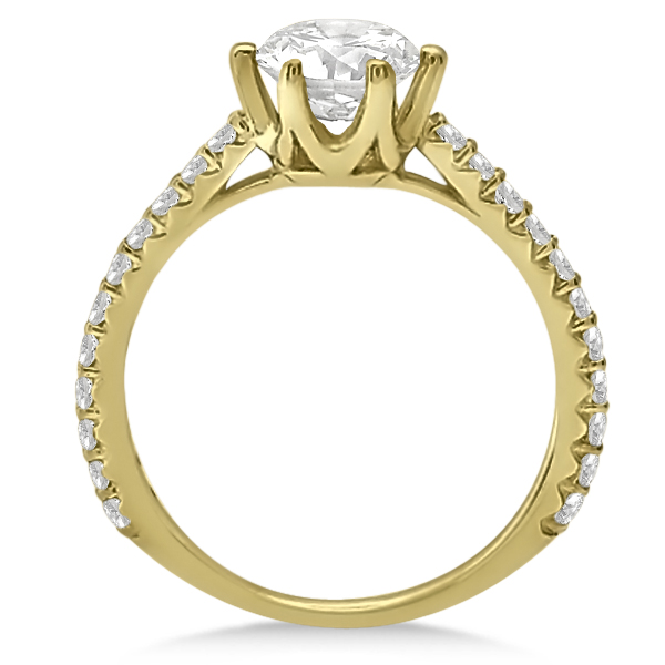 Diamond Accented Moissanite Engagement Ring in 18K Yellow Gold 1.33ctw