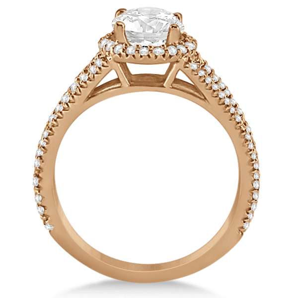 Split Shank Round Halo Diamond Engagement Ring 14K Rose Gold 1.34ct