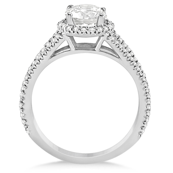 Split Shank Moissanite Engagement Ring Diamond Halo 14K W. Gold 1.34ct