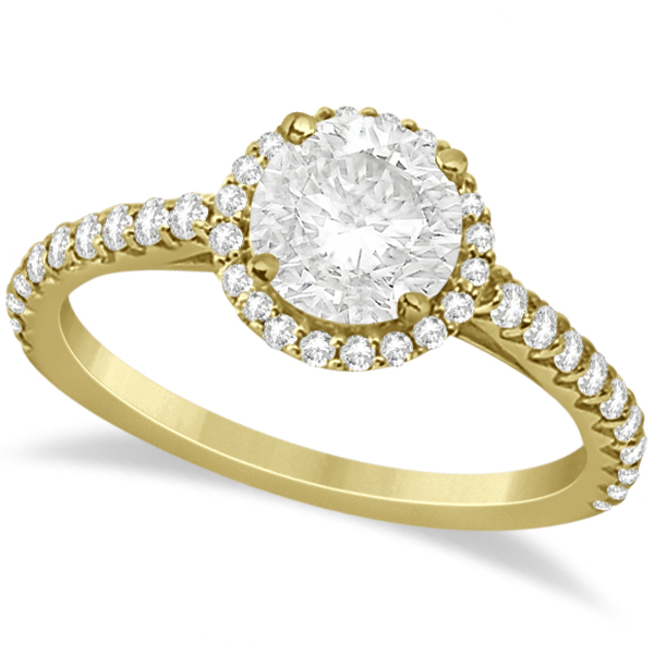 Halo Diamond Engagement Ring w/ Side Stone Accents 18K Y. Gold 2.00ct