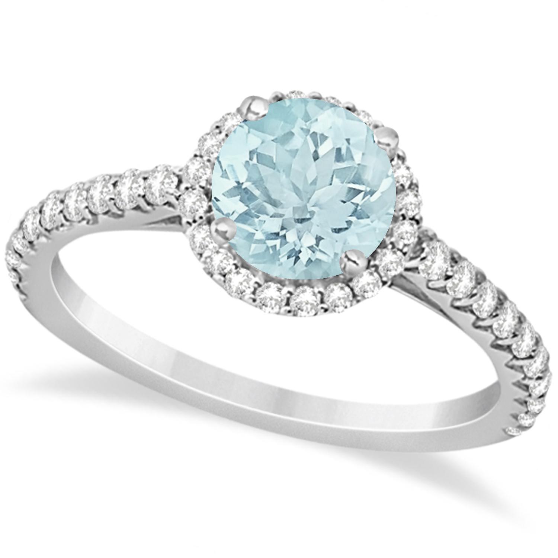 Halo Aquamarine & Diamond Engagement Ring  14K White Gold 1.81ct
