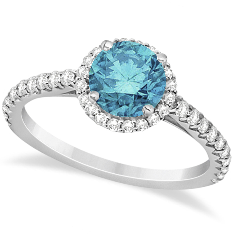 Halo Blue Diamond & Diamond Engagement Ring  14K White Gold 1.50ct