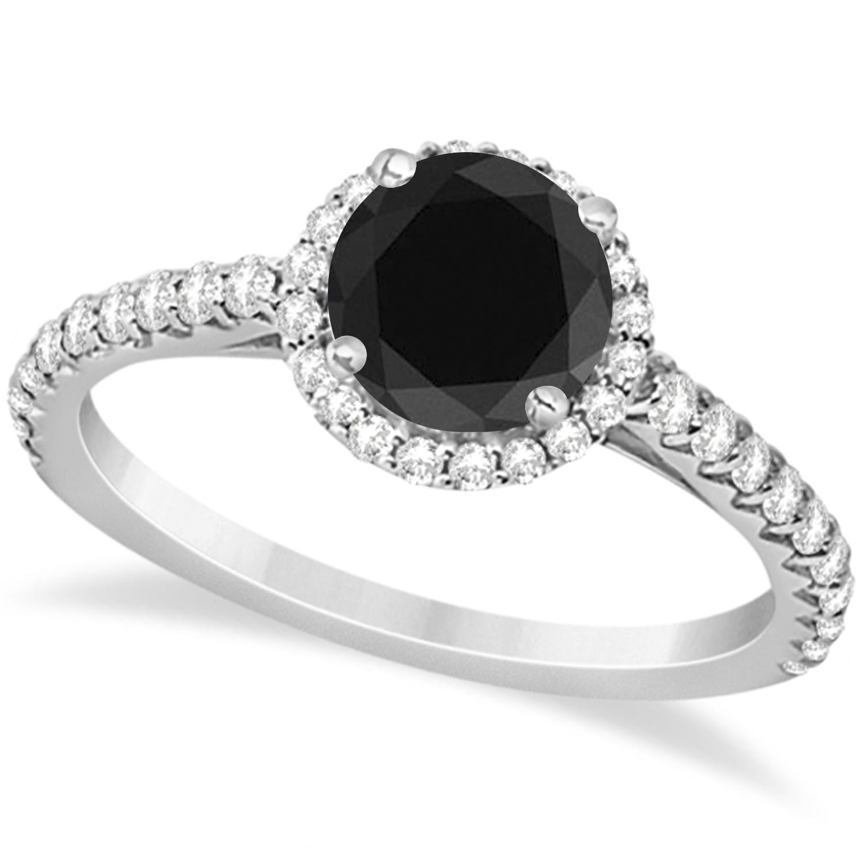Halo Black Diamond & Diamond Engagement Ring  14K White Gold 1.50ct
